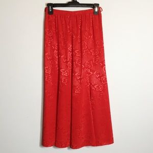 Vintage Philippe Marques Red Floral Midi Skirt